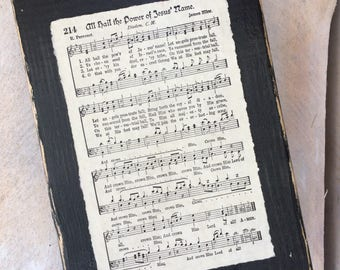 All Hail The Power Of Jesus Name Vintage Hymn Sign Display