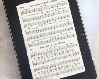 Jesus Loves The Little Children Vintage Hymn Sign Display