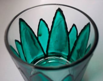 Hand Painted Teal Green Succulent Glass Tea Light Candle Holder