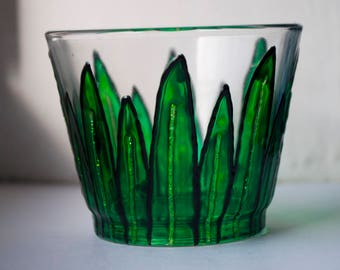 Hand Painted Green Succulent Glass Tea Light Candle Holder