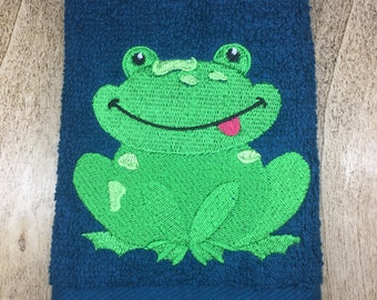 Frog Face cloth, Childs Wash cloth, Kids Flannel, Machine Embroidered Face cloth, Gifts for animal lovers, Birthday Gifts, Christmas gifts