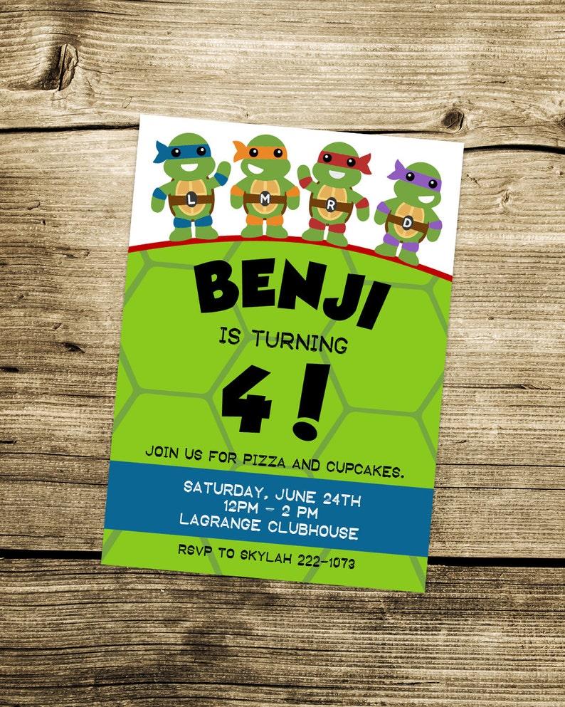 PRINTABLE Custom Teenage Mutant Ninja Turtles Invitation