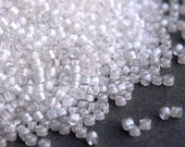 Miyuki Delica 11 0 DB-66 White Lined AB Crystal. White delica beads. Japanese Beads size 11