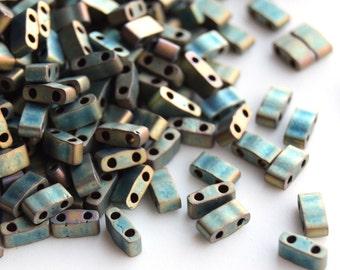 Miyuki Half Tila HTL-2008 Metallic Matte iris Patina. Beads 2.3*5mm. 5 or 10 grams. Green half tila. Green 2 hole bead. flat square bead.