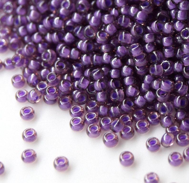 Japanese Seed Beads. Miyuki 110 RR-2264 fancy lined lavender Purple Seed Beads