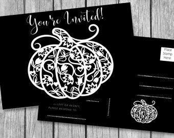 "HARVEST Pumpkin INVITATIONS/4x6""/Instant Download/Printable Postcards/Mailing Invitations/Autumn/Postcards/Digital Download/Party Invitation"