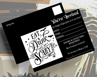 """4x6""""/HALLOWEEN PARTY INVITATIONS/Instant Download/Printable Postcards/Mailing Invitations/4 Colors/Halloween/Postcards/Digital Download"""