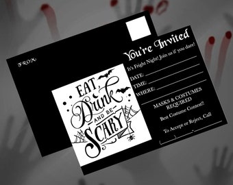 """5x7""""/HALLOWEEN PARTY INVITATIONS/Instant Download/Printable Postcards/Mailing Invitations/4 Colors/Halloween/Postcards/Digital Download"""