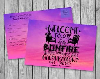 HARVEST BonFire INVITATIONS/2 Sizes/Instant Download/Printable Postcards/Mailing Invitations/Fall/Postcards/Digital Download