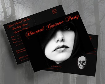 """COSTUME PARTY Invitations/4x6""""/Instant Download/Halloween/Gothic/Printable Postcards/Mailing Invitations/Postcards/Digital Download"""