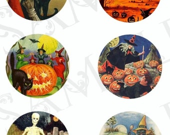 30mm VINTAGE HALLOWEEN: SERIES #2 Digital Download Sheet of Circles for Use in Dome Jewelry, Paper Crafts, Magnets, Stickers etc (28 Images)