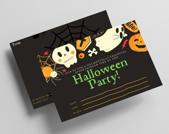 """HALLOWEEN PARTY INVITATION/2 Sizes/Instant Download/Printable Postcard/4x6""""/5x7""""/Halloween/Postcards/Mail Invitation"""