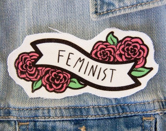 Feminist Patch with Banner and Pink Flowers - Canvas Sew On - Feminism Quote Accessory