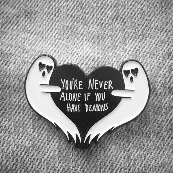Ghost Heart Enamel Pin Halloween Quote Youre Never Etsy
