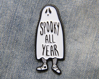 """Ghost """"Spooky All Year"""" Enamel Pin goth witch fashion black white lapel Halloween punk quote horror accessory style gift Alternative Style"""