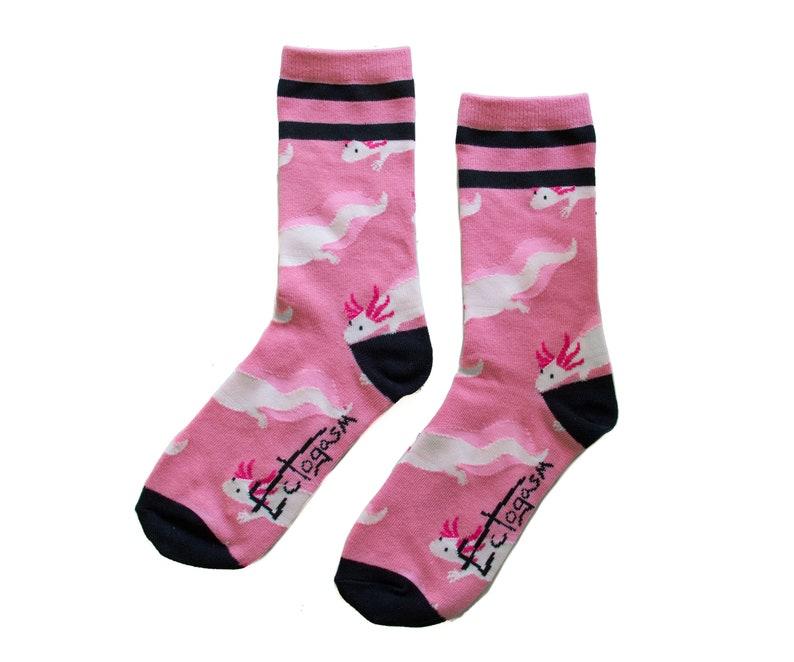 Black Axolotl Unisex Crew Socks Quirky Animal Pattern Pink Funny Fashion Style Mens Women/'s Gift Cute Amphibian Creature Aquatic Pet