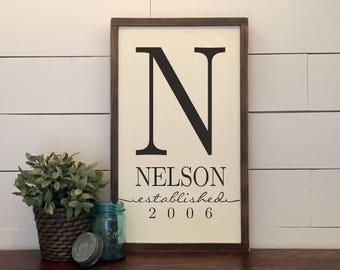 Custom Family Established Monogram Rustic Wood Sign ~ Wedding Gift ~ Bridal Shower Gift ~ Established Sign ~ Rustic Home Decor ~ Farmhouse