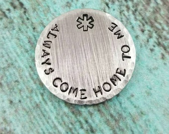 Paramedic Pocket Token, First Responder Pocket Tocken, Sentimental Gift,Custom Pocket Coin, paramedic good luck charm, always come home