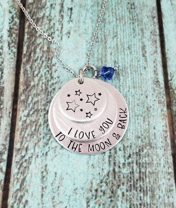 Mom/'s day gift gift for her birthstone necklace gift for mom Mother/'s Day to the moon and back necklace Love you to the moon and back