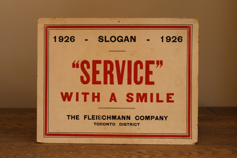 Vintage Cardboard Sign Service with a Smile Toronto Canada image 0