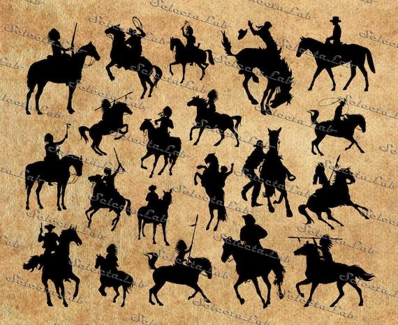 Digital Svg Png Cowboy Horse Riders Indian Native American Etsy