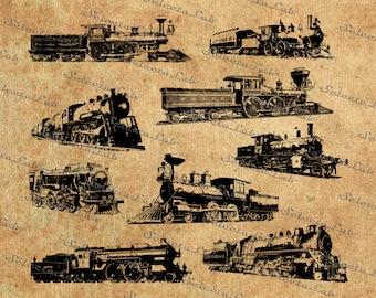 Digital SVG PNG train, vintage train, locomotive vector, wagon clipart, silhouette, instant download