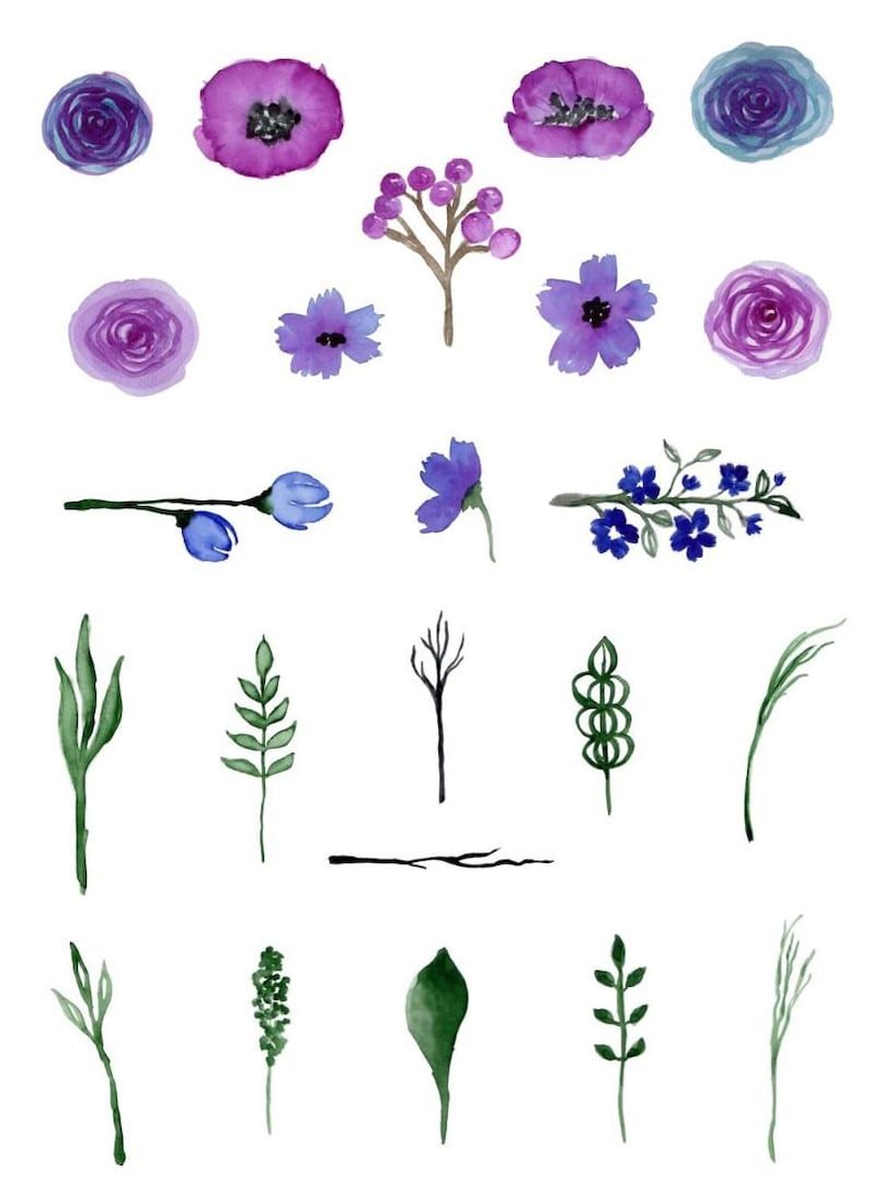 bouquet digital clipart wedding Free Commercial Use PNG invitationsrt floral Watercolor flowers Buy 3 for 9 USD leaf wreath rose