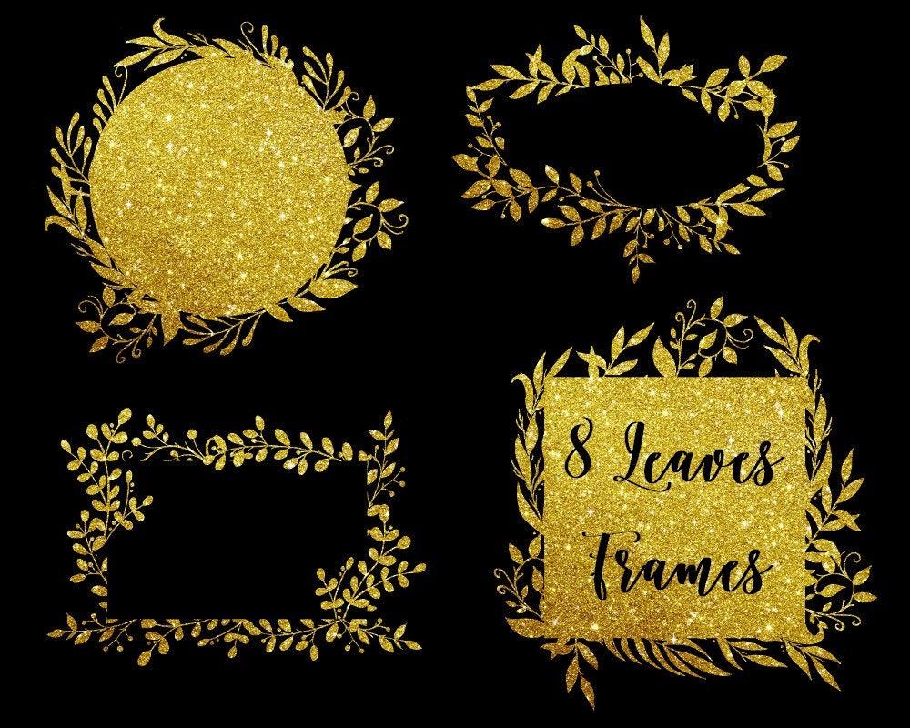 Kaufen Sie 3 für 9 USD - Gold Glitter Blätter Rahmen, digitale ...