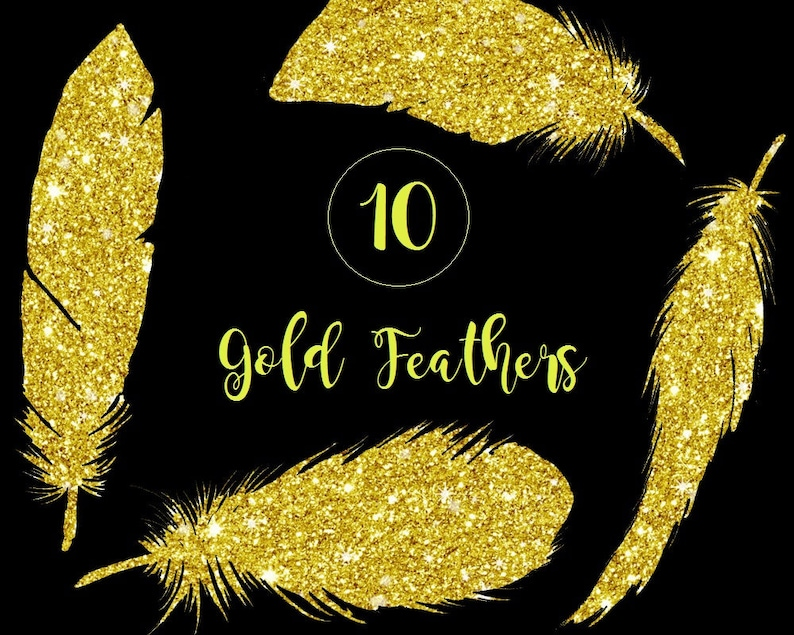 Buy 3 for 9 USD Gold Feathers Gold Clip art PNG Wedding Clip art Glitter Feather digital clipart