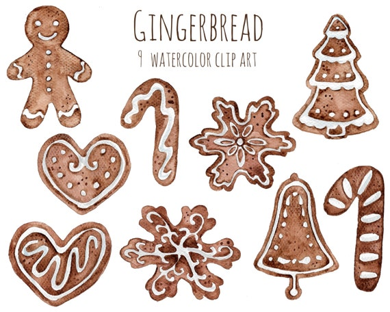 Buy 3 For 9 Usd Handpainted Watercolor Gingerbread Cookies Clipart Christmas Clip Art Instant Download
