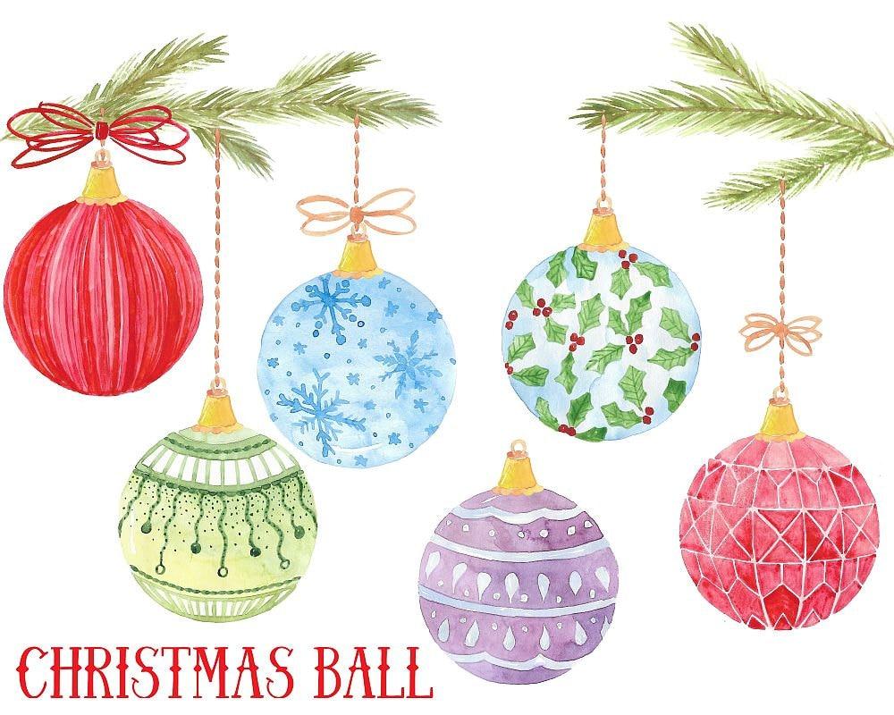 Kaufen Sie 3 für 9 USD Weihnachten-Kugel-Aquarell | Etsy