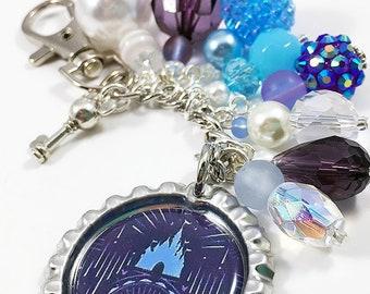 Sorcerer Mickey Purse Charm Keychain / Walt Disney World 2017 Magic Kingdom 45th Anniversary Dooney & Bourke Print / Castle Key Planner Gift
