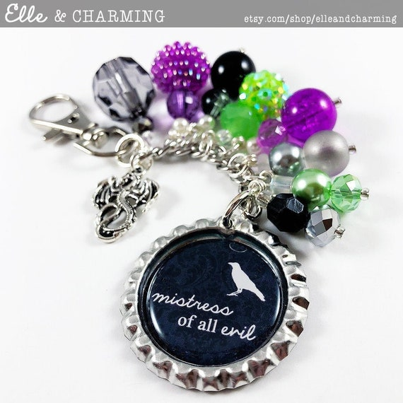 Sleeping Beauty Inspired keyring Villain Maleficent Mistress of all evil