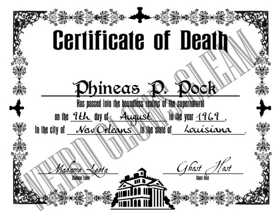 Doombuggies Com Presents The Haunted Mansion Death Certificate
