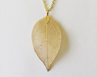 gold, rose gold, or silver leaf pendant necklace on dainty chain