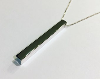 Silver vertical bar pendant necklace dainty chain