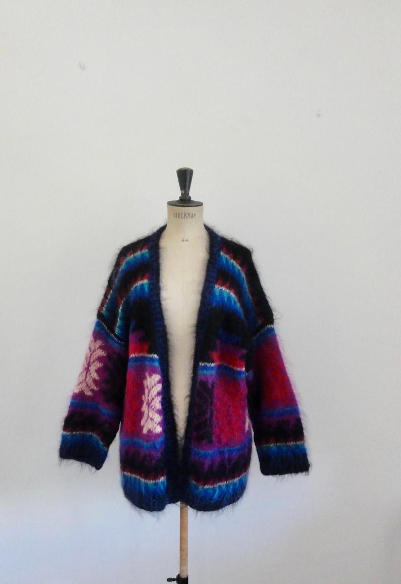 90s oversized aztec fluffy mohair cardigan sweater unisex one size surfer grunge steetwear