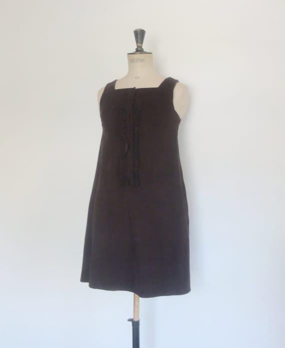 vintage pinafore dress chocolate corduroy velvet p