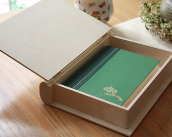 "12"" Wooden Book Box, Wooden Book Box, Unfinished Wood Box, Decorative Book Box, Wood Book Box, Wood Gift Box, Wooden Book Keepsake Box"