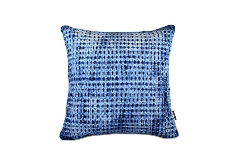 Waterfall  Indigo dyed cushion / Shibori / Natural Indigo / image 0