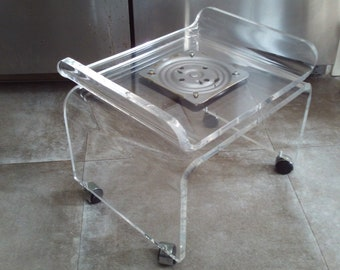 Vintage Mid Century Thick Lucite Vanity Swivel Chair On Wheels