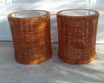 Excellent Rattan Side Table Etsy Download Free Architecture Designs Scobabritishbridgeorg