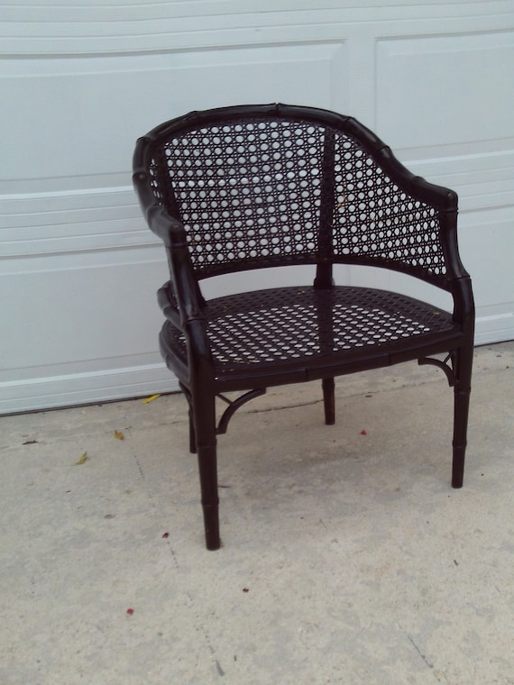 Fine Vintage Mid Century Black Faux Bamboo Wicker Back Seat Arm Chair No Free Shipping On This Item Caraccident5 Cool Chair Designs And Ideas Caraccident5Info
