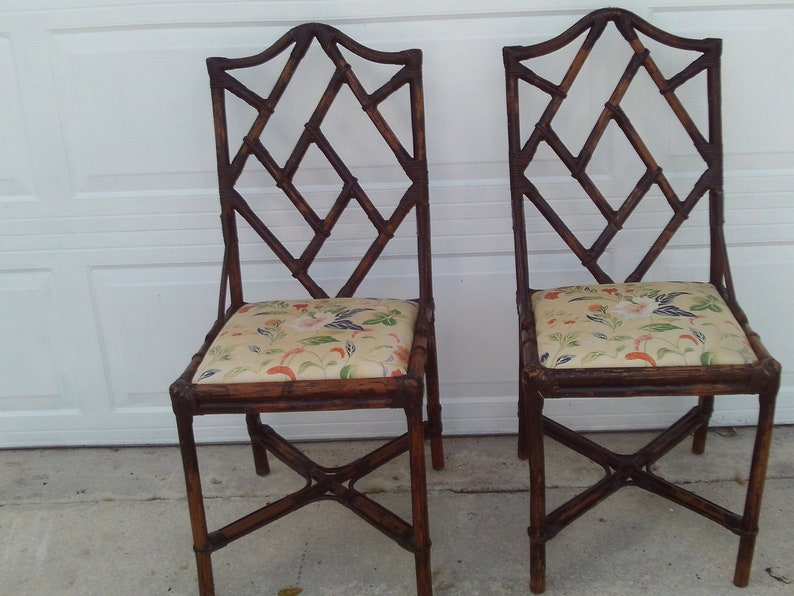 Pair Of Brown Vintage Bamboo Chinese Chippendale Chairs Etsy