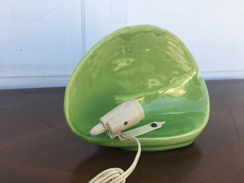 Coppia Di Vintage Mid Century Ceramica Tv Blu / Verde Swirl /