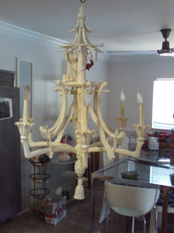 Vintage pagoda faux bamboo monkey chandelier etsy image 0 aloadofball Images
