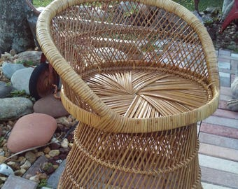 Vintage Mid Century Bohemian Rattan Wicker Chair Seat