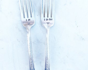 Hnd-Stmpd Wedding Forks