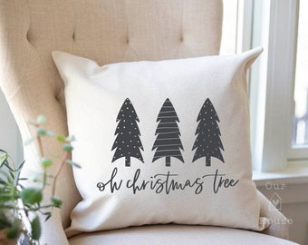Oh Christmas Tree Pillow - Christmas Pillow Cover - Christmas Pillows - O Christmas Tree Decorations Farmhouse Decor Christmas Throw Pillow