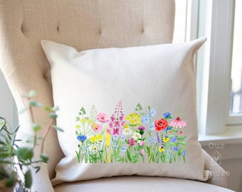 Wildflowers Pillow Cover - Summer Flowers Pillow Cover - Farmhouse Pillow Covers - Rustic Decor - Phrase Pillow
